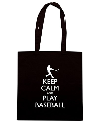 T-Shirtshock - Bolsa para la compra SP0093 Keep Calm and Play Baseball Maglietta Negro
