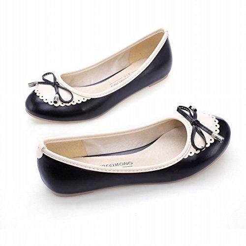 Carolbar Damesmode Assorti Kleuren Schattig Adorable Sweet Bows Elegance Loafer Flats Zwart