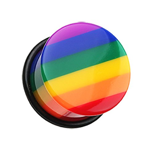 - Freedom Fashion Rainbow Stripe Single Flared Ear Gauge Plug (Sold by Pair) (6 GA,)