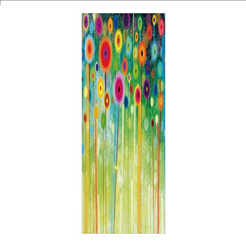 3D Decorative Film Privacy Window Film No Glue,Watercolor Flower Home Decor,Abstract Dandelion Inspired Spiral Blooms Petals Nature Art Theme,Multi,for Home&Office