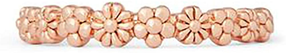 Pura Vida Rose Gold Floral Stackable Ring - Sterling Silver Band, Size 6