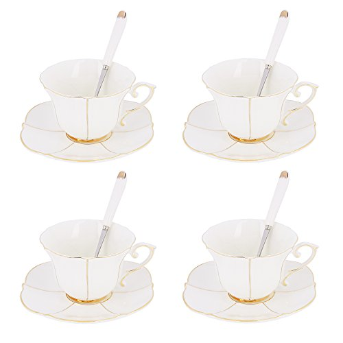 ARTVIGOR Saucers 4 Coffee and Tea Service, Lotus Leaf White Porcelain Shape Cup 5 oz Set with Gift Box 12 Pieces