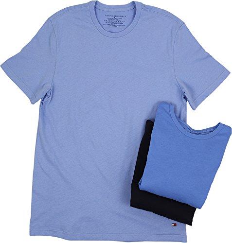 Tommy Hilfiger Men's Undershirts 3 Pack Cotton Classics Crew Neck T-Shirt, Navy/Blue/Soft Blue, Large (Tommy Hilfiger T Shirt Men)