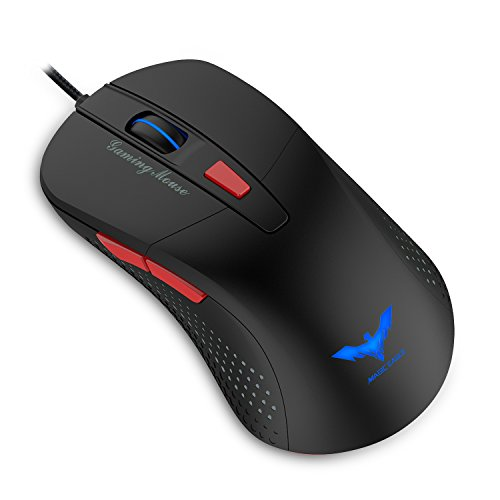 Gaming Mouse, HAVIT 2800DPI AVAGO 5050 6 Buttons LED Optical Wired Mouse, Black