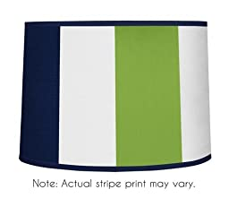 Modern Navy Blue and Lime Green Stripe Lamp Shade by Sweet Jojo Designs