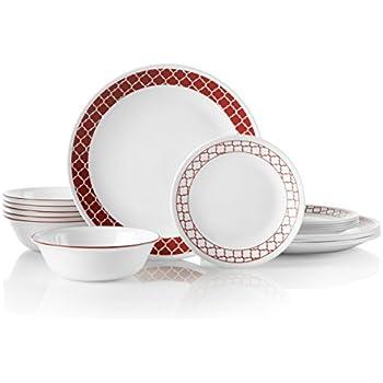 Corelle 18-Piece Service for 6, Chip Resistant, Crimson Trellis Dinnerware Set