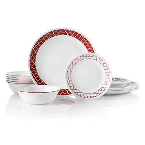 - Corelle 18-Piece Service for 6, Chip Resistant, Crimson Trellis Dinnerware Set,