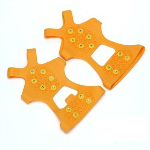 GQMART Pair Ice Snow Shoe Spikes Grips Crampons Cleats Hiking Fishing Climbing Orange M
