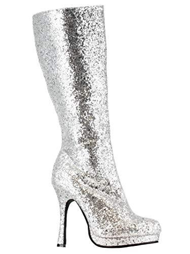 Zara Silver Boots (Ellie Shoes Knee High Silver Glitter)