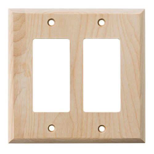 BRAINERD Medium Size Wood Square Corner Double Decorator Unfinished Wall Plate, Unfinished Birch - Unfinished Birch
