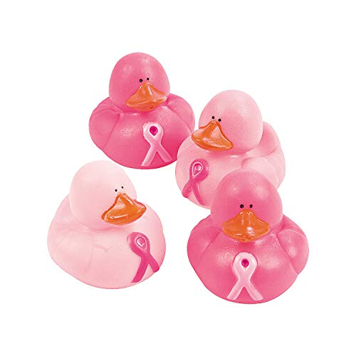 Fun Express - Pink Ribbon Rubber Duckies - Toys - Character Toys - Rubber Duckies - 12 Pieces (Pink Ribbon Rubber Ducks)