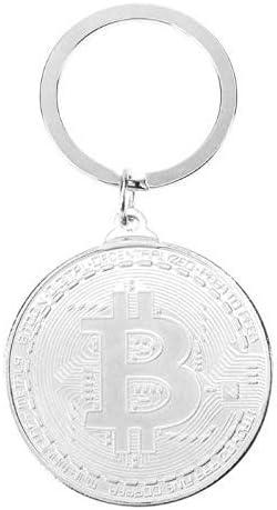 Schlüsselanhänger Trendy Alloy Bitcoin Schlüsselbund Silber Gold Roségold Vintage Stye Gedenkmünzen Schlüsselanhänger Kette Für Frau Mann Geschenk Sport Freizeit