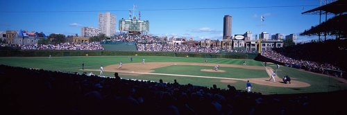 Baseball Stadium Mural - Walls 360 Peel & Stick Baseball Stadium Wall Mural: Wrigley Field with City View (36 in x 12 in)
