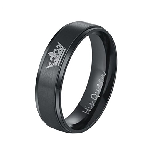 ueen Her King Crown Couple Ring Valentine's Day Jewelry Gift - Black US 7 Queen Ameesi ()