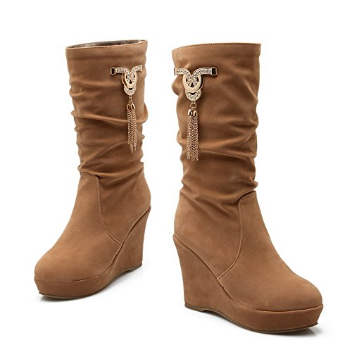 Solid AgooLar Mid Boots High Heels Imitated Camel Top Closed Toe Women's Suede Round x4HqZT