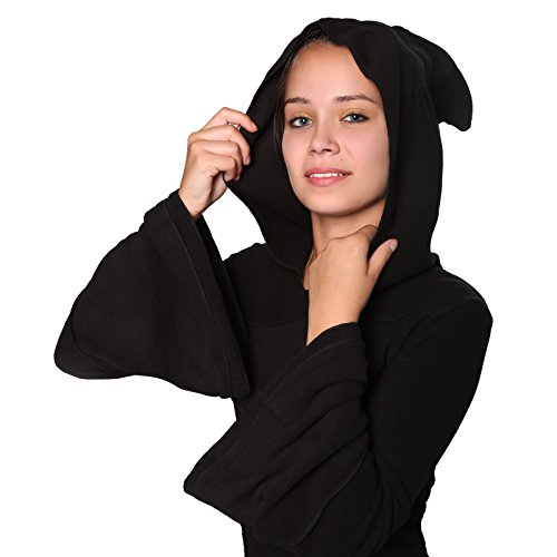 Zipfelkapuze Fairy und Kunst Pixie Magie Black Schwarz Zipfeliges Kleid mit Blattform Goa in 0q8wBq