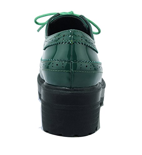Ladola Womens Retro Round-Toe Lace-Up Urethane Boots Green VXqgF