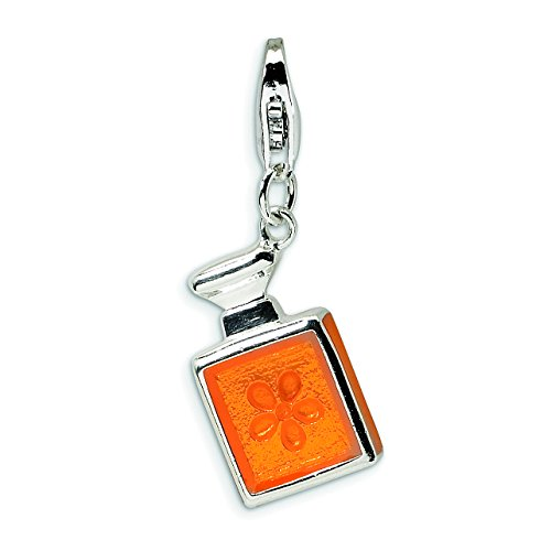 Enameled Perfume Bottle - Amore La Vita Sterling Silver 3-D Orange Enameled Perfume Bottle Lobster Clasp Charm