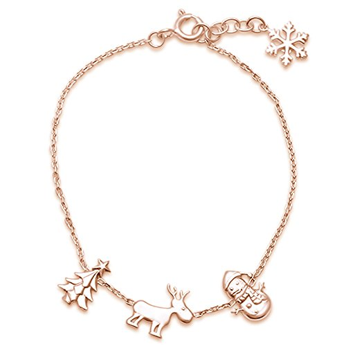 Yellow Gold Christmas Charms .925 Sterling Silver Bracelet 6