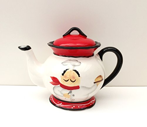 Tuscany Colorful Plump Bistro Chef Hand Painted Ceramic Teapot, 89117 by ACK