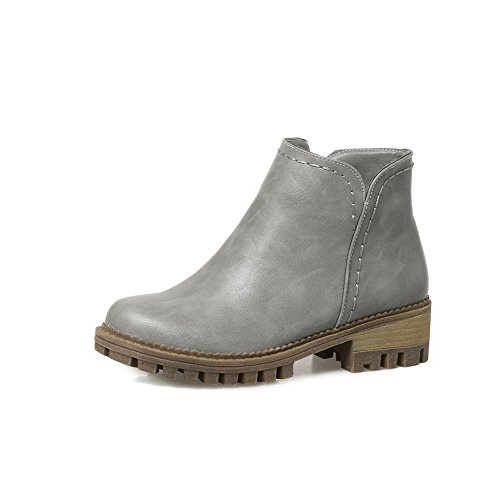 Womens Boots Slip Resistant Platform Leather BalaMasa ABL10188 Gray Retro 7SqB1qwH