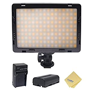 Mcoplus Air-1000b 160pcs CRI95 Bi-color Ultra-thin Dimmable Panel Digital Camera/Camcorder video Led Light for Canon Nikon Sony Panasonic Olympus Pentax with Sony NP-550 Battery+charger