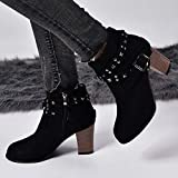 Women Ankle Boots Wide Width Suede Rivets Mid