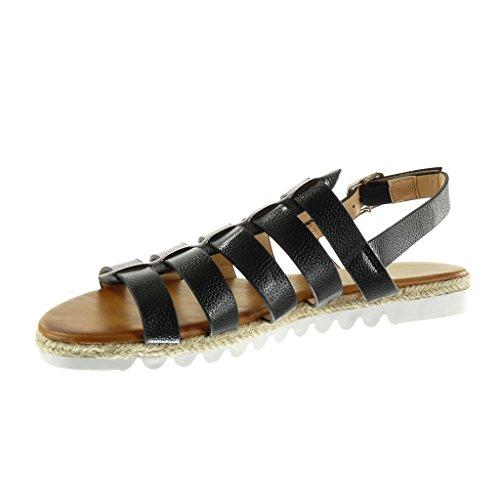 Angkorly - Scarpe da Moda sandali Espadrillas gladiatore suola di sneaker donna pelle di serpente tanga corda Tacco tacco piatto 2.5 CM - Nero