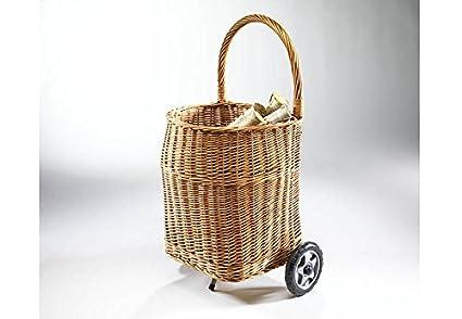 Carro para leña cesto con ruedas con mango y revestimiento, 39 x 45 x 58