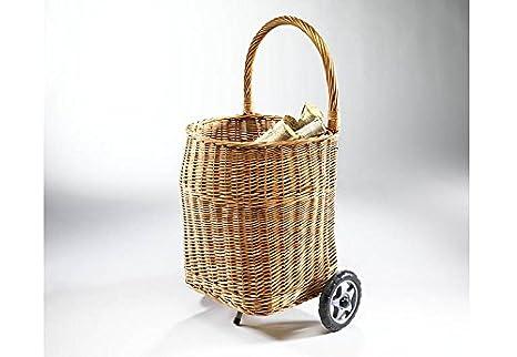 Carro para leña cesto con ruedas con mango y revestimiento, 39 x 45 x 58 cm, sauce, color marrón: Amazon.es: Hogar