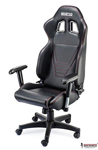 Sedia Da Ufficio Racing.Sparco 0967nrsky Poltrona Da Ufficio In Pelle Sparco Amazon It
