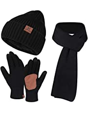 FZ FANTASTIC ZONE Mens Womens Winter Knit Hat Beanie Long Scarf Touchscreen Gloves Set Skull Cap Gloves with Fleece Lined