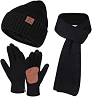 FZ FANTASTIC ZONE Mens Womens Winter Knit Hat Beanie Long Scarf Touchscreen Gloves Set Skull Cap Gloves with F