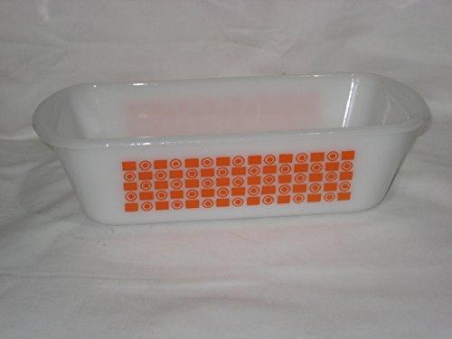 Jeanette Glass Patterns - Vintage Glasbake White Milk Glass & Orange Square & Circle Pattern 1 1/2 Quart Loaf Baking Pan 522 USA