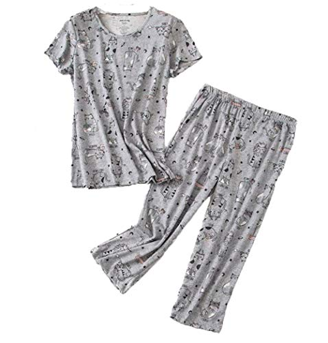 Cotton Jersey Ladies Short - Women's Pajama Sets Capri Pants with Short Tops Cotton Sleepwear Ladies Sleep Sets SY296-Gray Cats-S