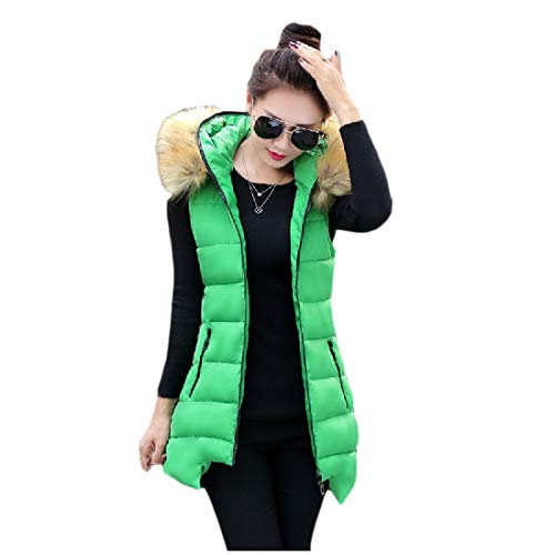 YKeen Women Trendy Mid Long with Faux Trimmed Hood Qulited Vest Padded Jacket Green - Animal Tunic Print Trimmed