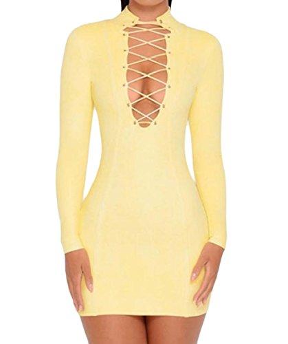 Coolred Long Chest Sexy Slim Women Open Irregular Dress Sleeve Yellow Cocktail EqxBYqw1