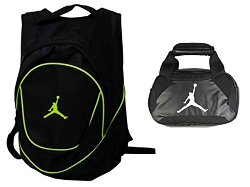 Nike Air Jordan Jumpman Backpack & Insulated Trainer Lunch Tote Bag Set + FREE Cell Phone Dust Plug (Green/Black) by NIKE