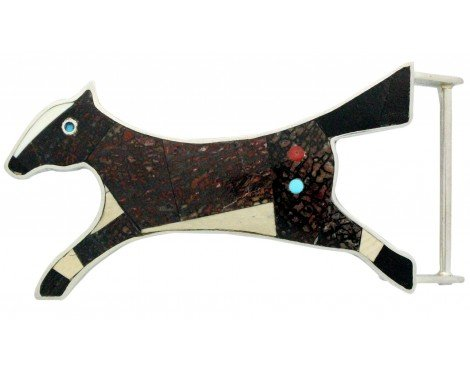 Monty Claw, Buckle, Running Horse, Inlay, Sterling Silver, Navajo Handmade