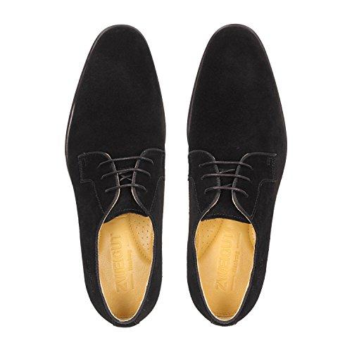 Bough Smuck # 271 Da Uomo In Pelle Scamosciata Derby Scarpa Da Uomo Business Comfort Re Ultra Flessibile E Leggermente Nero