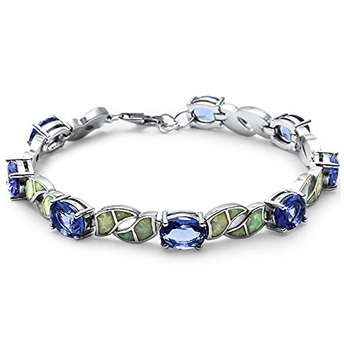 Bracelets Opal Oval (Oval Simulated Tanzanite & Lab Created Blue Opal .925 Sterling Silver Bracelet (Lab Created White Opal))