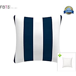 FBTS Prime Outdoor Decorative Pillows with Insert Navy and White Stripe Patio Accent Pillows Throw Covers 18x18 inches Square Patio Cushions for Couch Bed Sofa Patio Furniture
