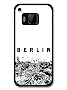 Cool Black and White Berlin City with Bear Illustrated Poster carcasa de HTC One M9