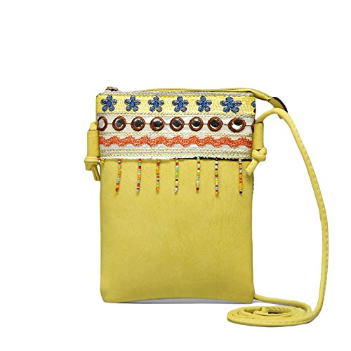 Beaded Crochet Fringe Top - Cute Shoulder Bag Vegan Faux Leather Hippie Bohemian Clutch Purse Zipper Strap (Yellow)
