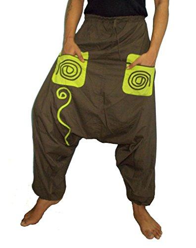 Hippie Khakis (Sarjana Handicrafts Men's Cotton Pockets Harem Yoga Baggy Genie Hippie Pants Small Khaki)