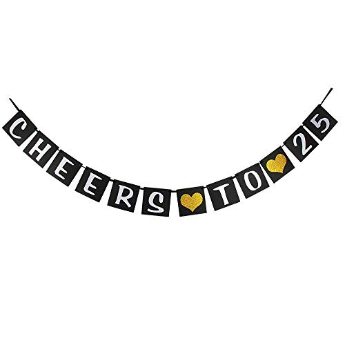 25th Anniversary Hearts - waway Cheers to 25 Birthday Banner Gold Glitter Heart for 25th Anniversary 25 Years Old Birthday Party Decoration Supplies Black