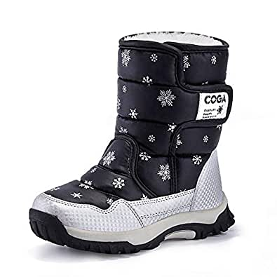 MARITONY Kid's Snow Boots for Girls and Boys, Warm Cozy Waterproof Winter Safety Glitter Puffer Shoes Black