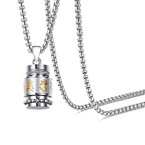 Towlimss Religious Titanium Steel Prayer Wheel Pendant Locket Necklace(White Gold)