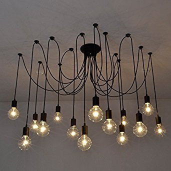Fuloon vintage edison multiple ajustable diy ceiling spider lamp fuloon vintage edison multiple ajustable diy ceiling spider lamp light pendant lighting chandelier modern chic industrial aloadofball Gallery