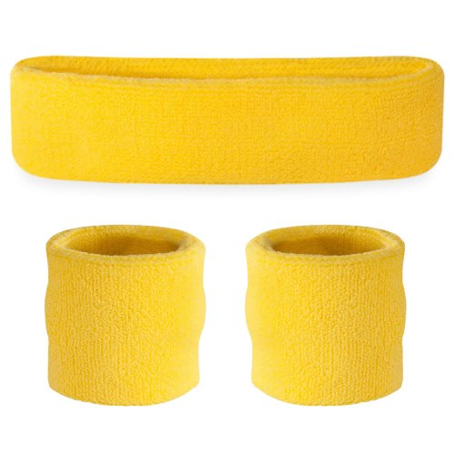 Suddora Neon Yellow Headband/Wristband Set - Sports Sweatbands for Head and -